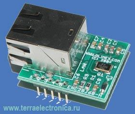 ENC28J60-H – сверхминиатюрный Ethernet модуль для встраиваемых систем фирмы Olimex