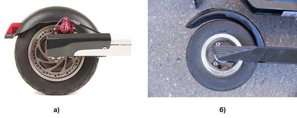 Дисковый тормоз (а) и заднее крыло самоката, выполняющее функцию тормоза (б)