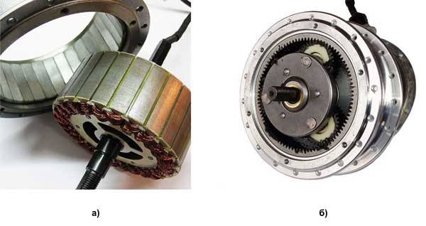 Конструкция мотор-колеса: а) без редуктора (Direct Drive); б) с планетарным редуктором