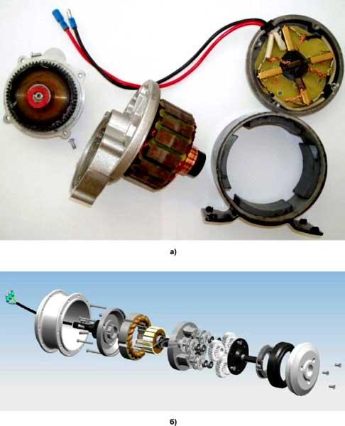 Конструкция коллекторного (а) и бесколлекторного (б) двигателей со встроенными редукторами