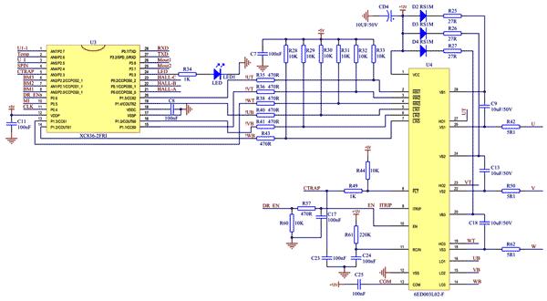 Схема драйвера 6ED003L02, подключенного к микроконтроллеру XC836M