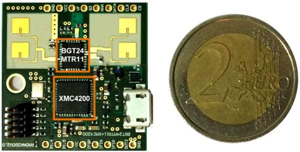 Демонстрационная плата для разработки радара с диапазоном ISM 24 ГГц имеет размер сравнимый с монетой в 2 Евро
