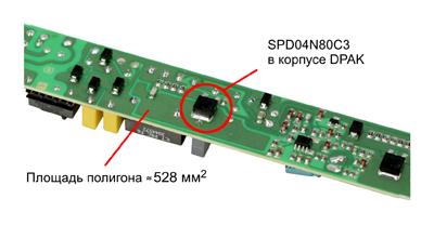 Плата светодиодного драйвера, использовавшаяся при испытаниях тепловых характеристик МОП-транзисторов