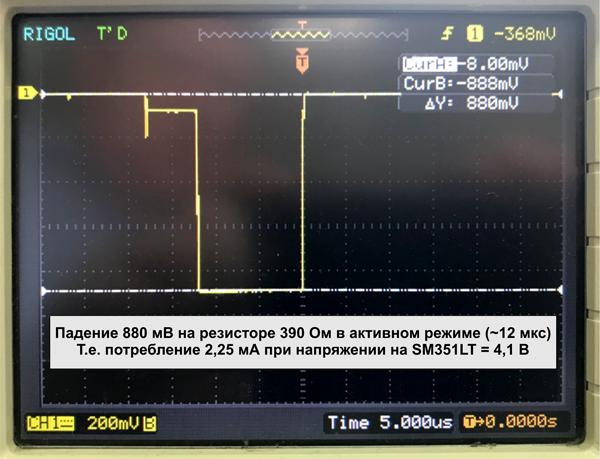 Форма тока, потребляемого микросхемой SM351LT