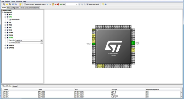 Проверка настройки выводов микроконтроллера с помощью STM8CubeMX