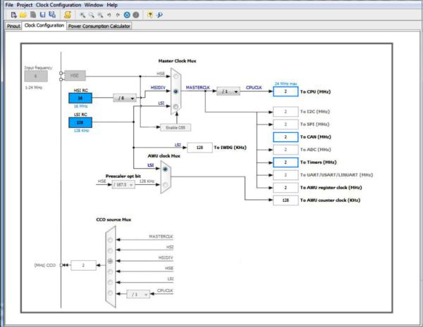 Проверка настроек системы тактирования с помощью STM8CubeMX