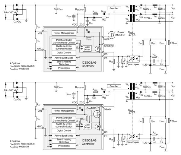 Обратноходовые квазирезонансные преобразователи на основе контроллера ICE5QSAG и регулятора ICE5QRxxxxAx