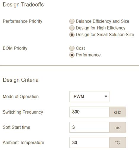 Параметры проектирования преобразователя на MAX17503 для минимизации габаритных размеров