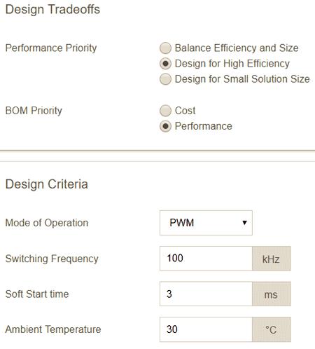 Параметры проектирования преобразователя на MAX17503 для получения максимального КПД