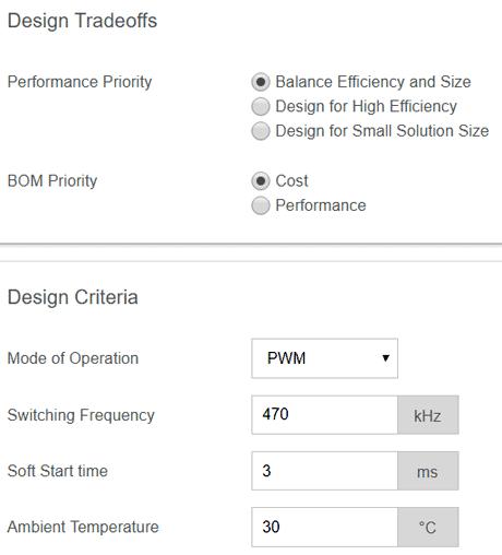 Рабочие окна программы EE-Sim® DC/DC Converter Tool: параметры проектирования импульсного преобразователя