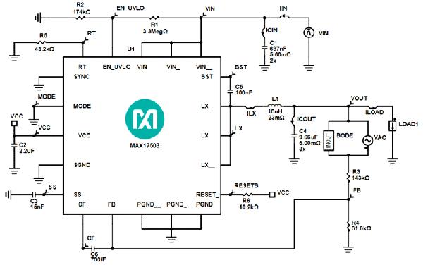 Схема импульсного преобразователя на базе микросхемы MAX17503