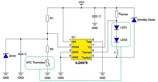 В зависимости от применения новый драйвер может использовать как внутреннюю защиту от перегрева, так и внешний терморезистор NTC