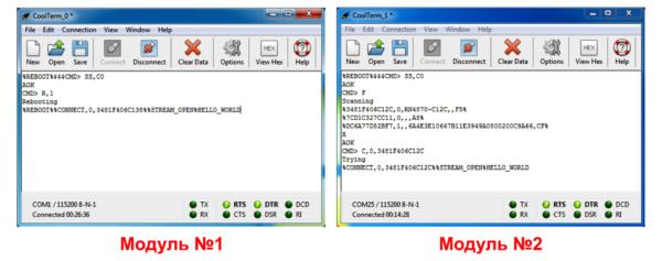Организация прозрачного канала между модулями RN4870