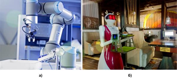 Примеры коботов: а) механизированная рука; б) робот-официант