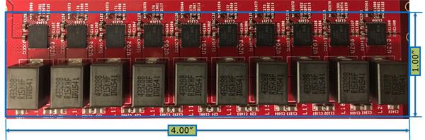 Типовой размер и трассировка платы для 10-фазного регулятора напряжения с силовым каскадом TDA21472