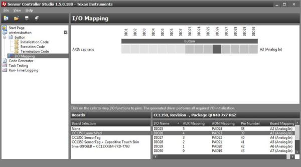 Настройки I/O Mapping в SensorControllerStudio