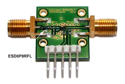 Внешний вид модуля Infineon с BGA615L7 и ESD0P8RFL