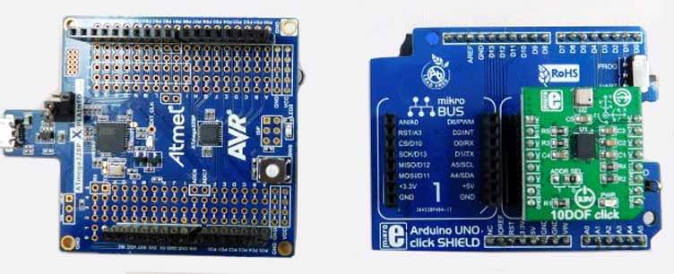 Плата 10DOF Click (справа) подключается к модулю ATmega328P Xplained Mini (слева)