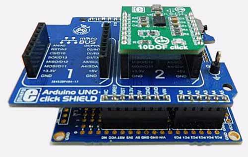 Вот так выглядит полный стек с MikroElektronika 10DOF Click, Arduino Uno click shield и ATmega328P Xplained Mini board