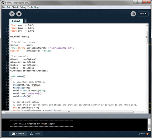 Код трехмерного кролика в программе Processing