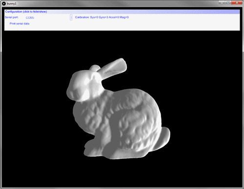 Как и ожидалось, кролик вращался в соответствии с положением платы 10DOF Click