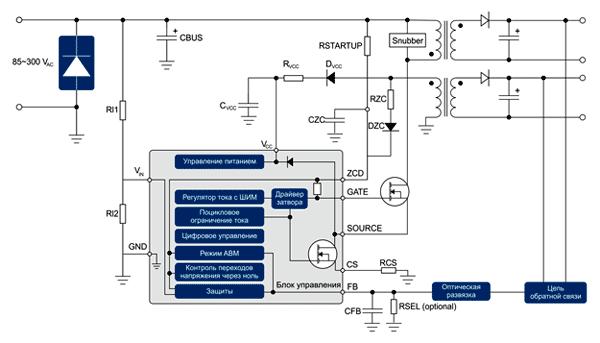 Типовая схема включения квазирезонансного обратноходового преобразователя Infineon CoolSETTM пятого поколения