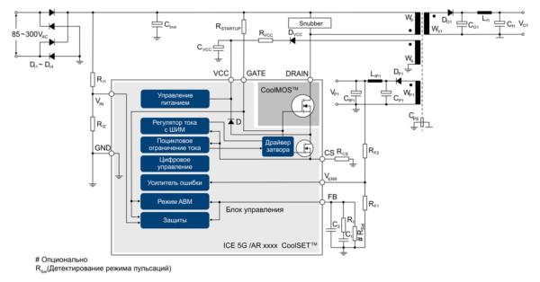 Типовая схема включения обратноходового преобразователя CoolSETTM с фиксированной частотой, с цепью обратной связи по первичной стороне, без гальванической развязки