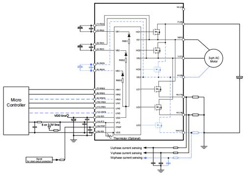 Пример схемы приложения типа открытый эмиттер (исток) (2-фазный, 3-фазный инвертор)