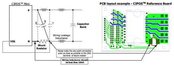 Рекомендованные соединения шунтового резистора и снабберного конденсатора