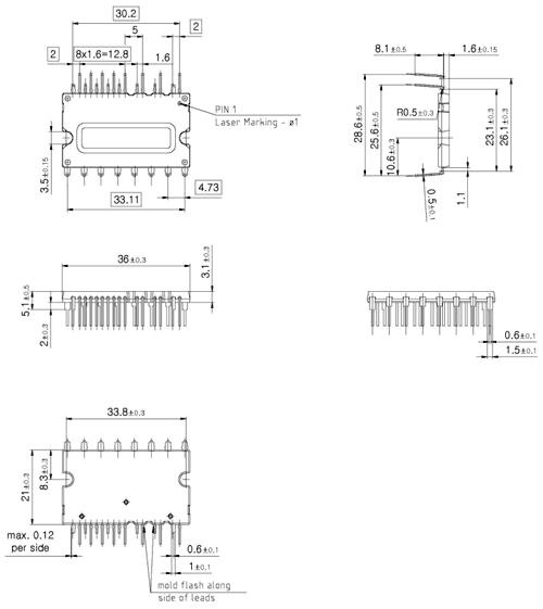 Внешние размеры модулей в корпусах Fullpack, мм