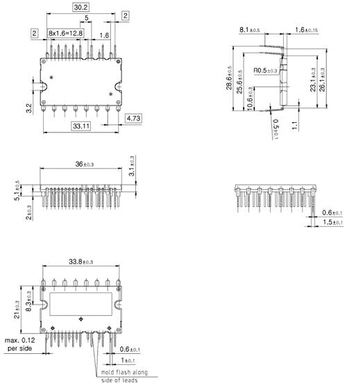 Внешние размеры модулей в корпусах DCB, мм