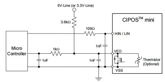 Рекомендуемая схема интерфейсных цепей между микроконтроллером и модулем CIPOS ™ Mini