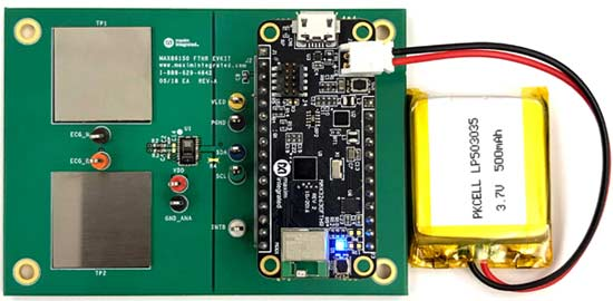 Отладочный набор MAX86150EVSYS# позволяет выполнять ЭКГ и ФПГ