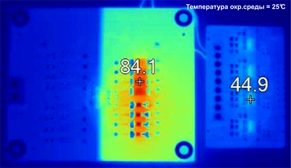 Сравнение рабочих температур: традиционное решение +84,1, ISO1212 +44,9