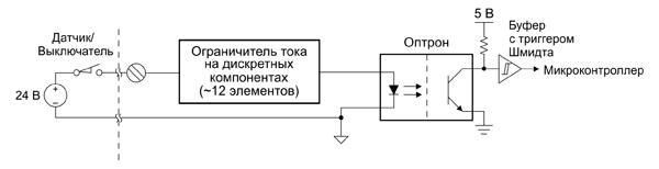 Реализация дискретного входа на основе оптрона с ограничением тока резистивным делителем и стабилизатором тока