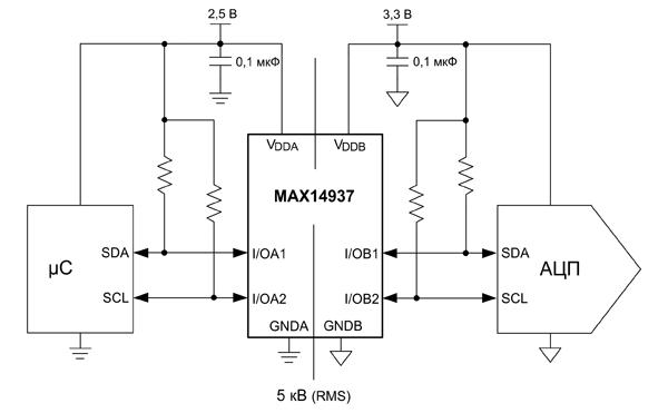 Пример подключения изолятора МАХ14937