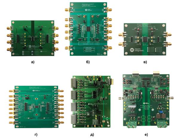Внешний вид отладочных плат для цифровых изоляторов MAXIM Integrated: а) MAX14432FSEVKIT; б) MAX2244XWEVKIT; в) MAX12935BWEVKIT; г) MAX14483EVKIT; д) MAX22192EVKIT; е) MAX14001EVSYS
