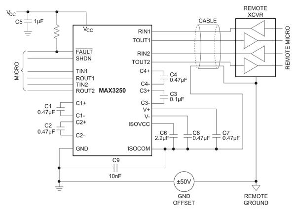 Типичная схема включения трансивера MAX3250