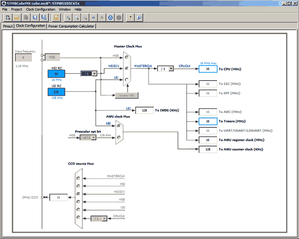 Схема тактирования STM8S