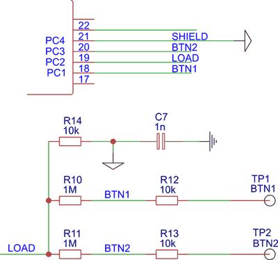 Схема подключения кнопок