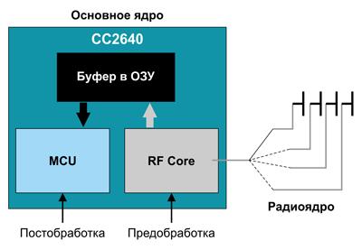 Схема взаимодействия основного ядра и радиоядра