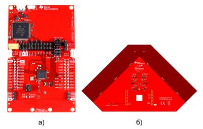 Внешний вид плат: а) CC2640R2 Launchpad; б) BOOSTXL-AOA с набором печатных антенн