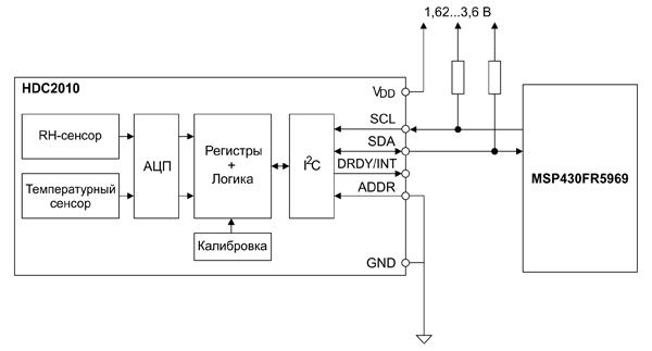 Схема подключения датчика влажности HDC2010 к микроконтроллеру MSP430FR5969