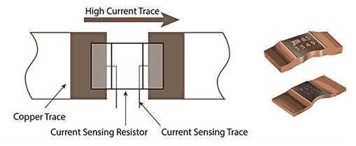 Соединение Кельвина с двухконтактным токочувствительным резистором уменьшает погрешность измерения, вызываемую сопротивлением выводов резистора и дорожек печатной платы