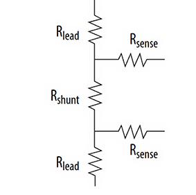 Использование соединения Кельвина с двухконтактным шунтовым резистором выводит линии измерения напряжения из основной цепи тока, что приводит к более точному измерению напряжения на шунтовом резисторе