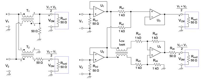 Варианты схем разделения синфазного и дифференциального шума: пассивная (a) и активная (b)
