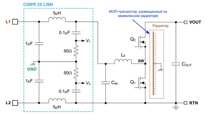 Измерение уровня электромагнитных помех автомобильного синхронного повышающего преобразователя согласно CISPR 25 с использованием эквивалента сети (LISN) 50 Ом/ 5-мГн