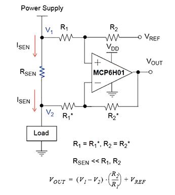 Конфигурация измерения тока на стороне высокого напряжения с использованием дискретных резисторов и операционного усилителя
