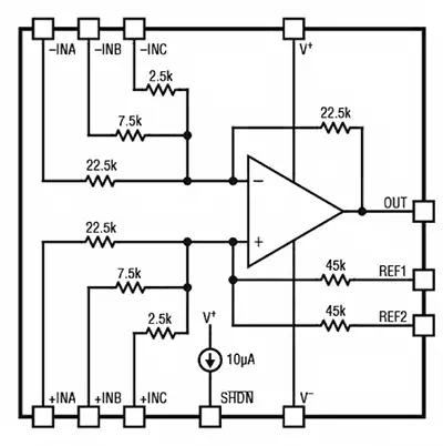 Усилитель LT1997-3 содержит несколько точно подобранных резисторов, которые можно объединить для получения нескольких высокоточных дробных коэффициентов усиления и ослабления