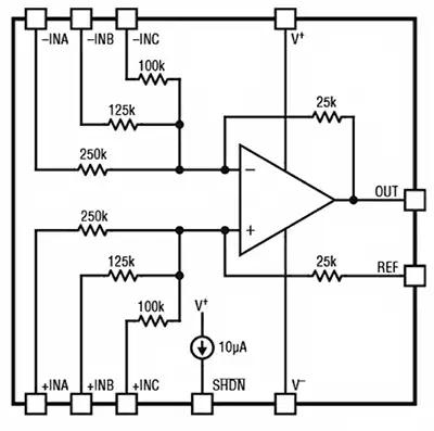 Усилитель LT1997-2 содержит несколько точно подобранных резисторов, которые можно комбинировать для получения высокоточных дробных коэффициентов усиления и ослабления